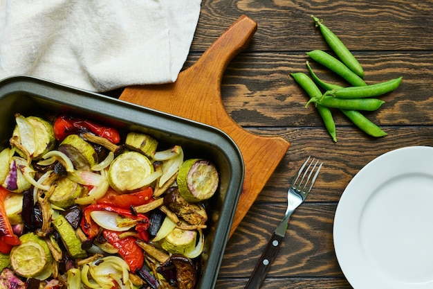 Baked vegetables on baking tray