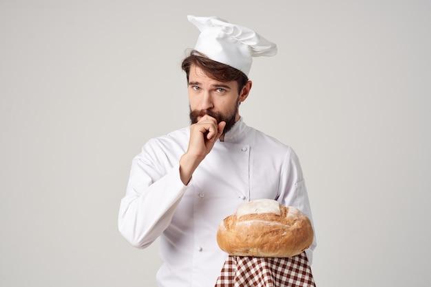 베이커 레스토랑 서비스 밝은 배경 제공