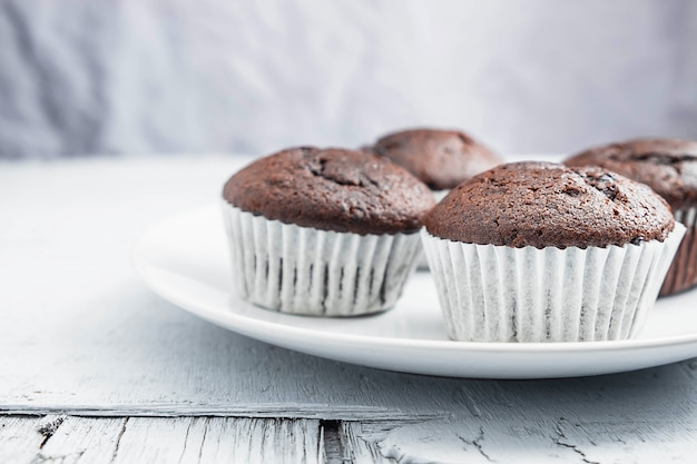 Bakery chocolate cupcakes in a dish