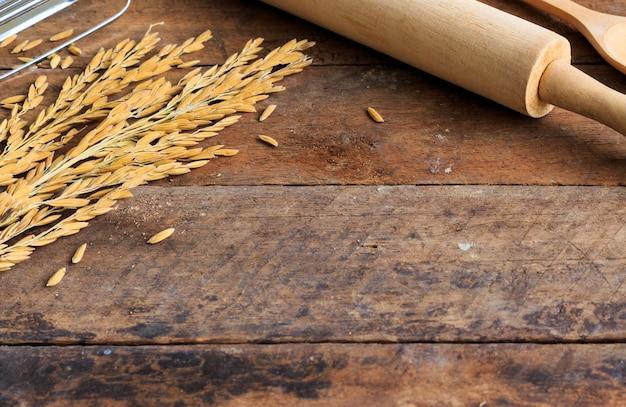 木製テーブルのベーカリーの成分
