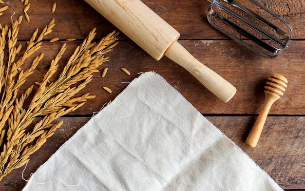 Bakery ingredients on wood table