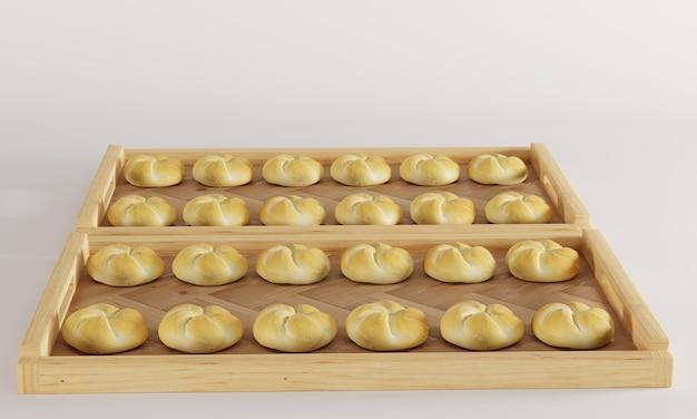 Bakery kaiser roll on asymmetric wooden tray