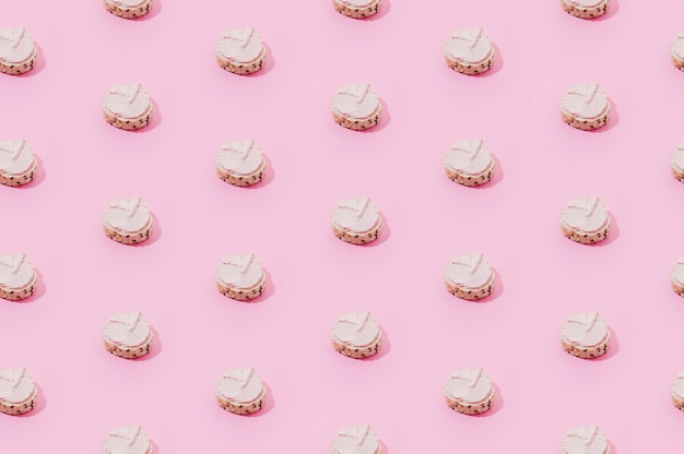 Bakery pattern with pink sweets
