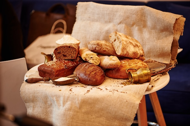 Bakery products on a textile