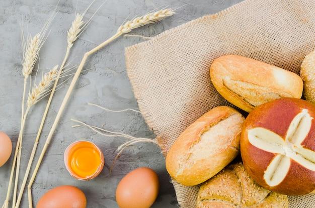 Bakery still life with handmade bread