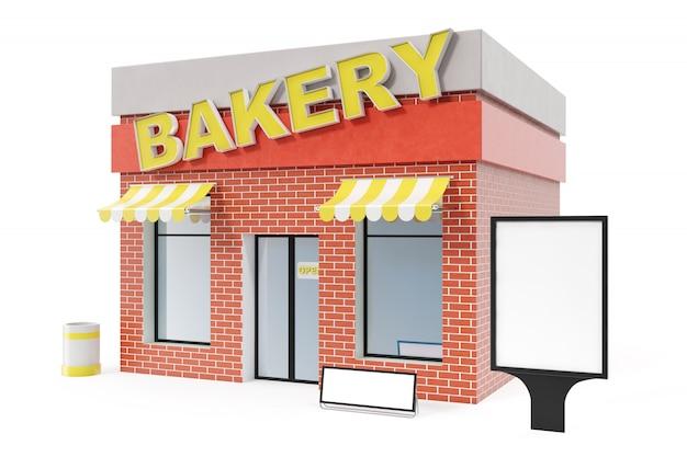 Магазин хлебопекарни при доска космоса экземпляра изолированная на белой предпосылке. современные цеха здания, магазинные фасады. внешний рынок. внешний фасад магазина, 3d рендеринг