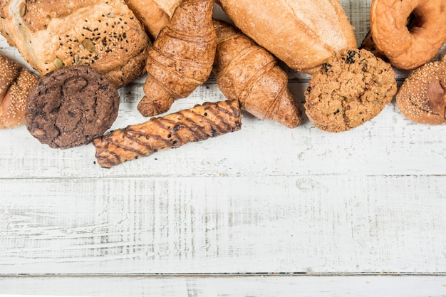 Bakery on wood white background