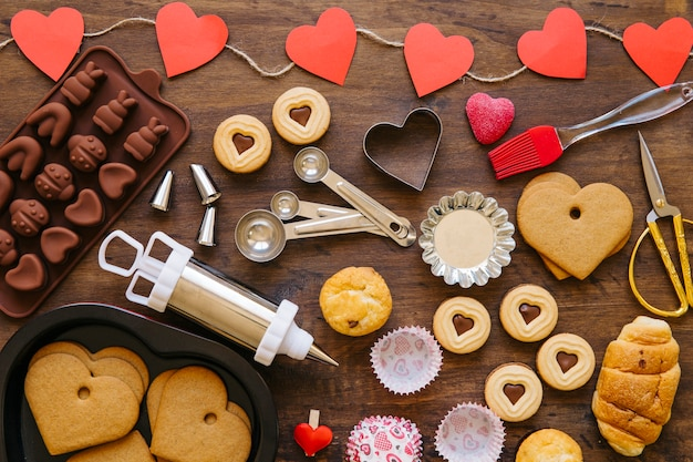 Bakeware and valentine's day pastry