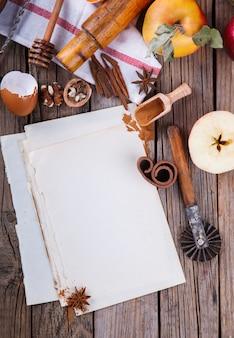 Выпечка фон. ингредиенты для выпечки яблочного пирога