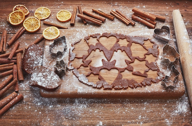 Baking christmas gingerbread, homemade christmas cookies