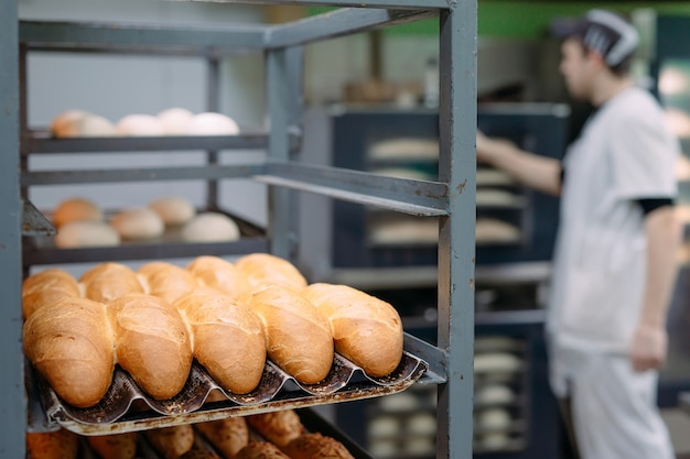 Baking delicious bread in the bakery.