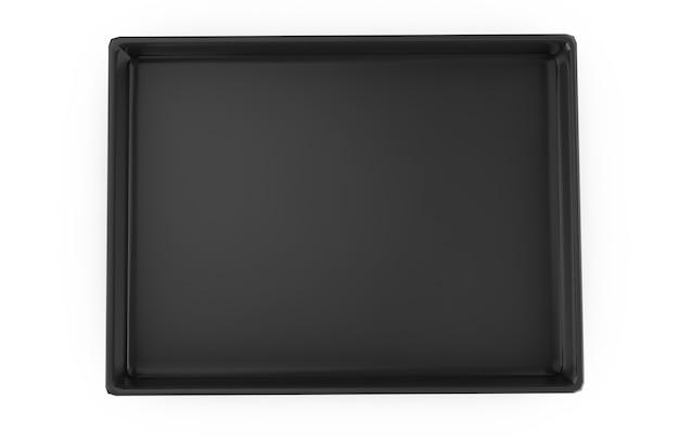 Форма для выпечки, прямоугольный противень, лист. очистите черный противень для духовки. вид сверху. изолированные на белом фоне. 3d визуализация