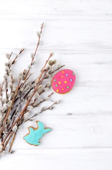 Baking easter  with colorful gingerbread cookies