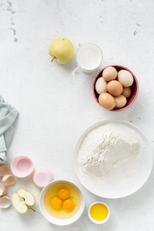 Baking food ingredients on a white  top view