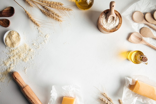 Baking frame copyspace background with ingredients