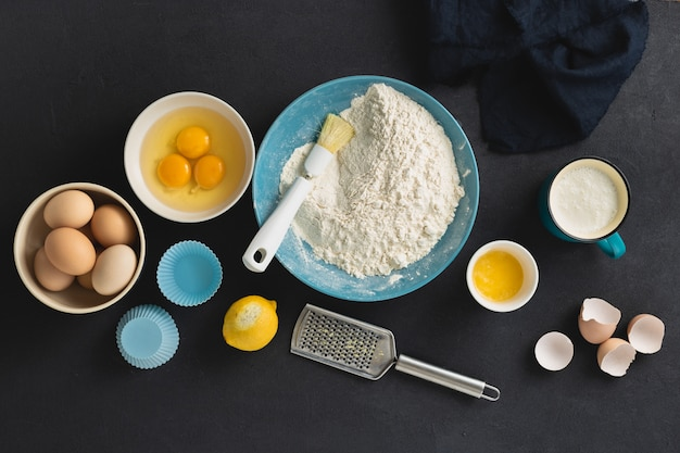 Baking ingredients for cooking muffins