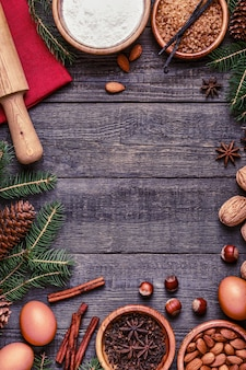 クリスマス料理の材料を焼く