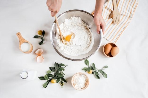 Baking ingredients in grey