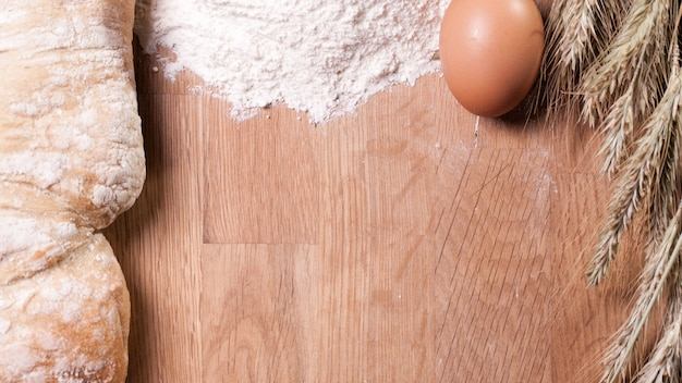 Baking ingredients on wooden table