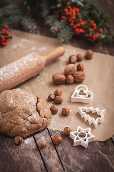 Baking sweet christmas cookies with peanuts