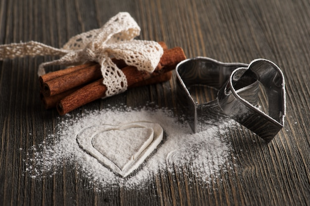 Baking utensils, metal heart molds