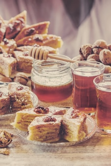 Baklava honey and tea