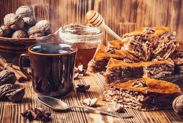 Baklava honey with walnuts. selective focus. food.