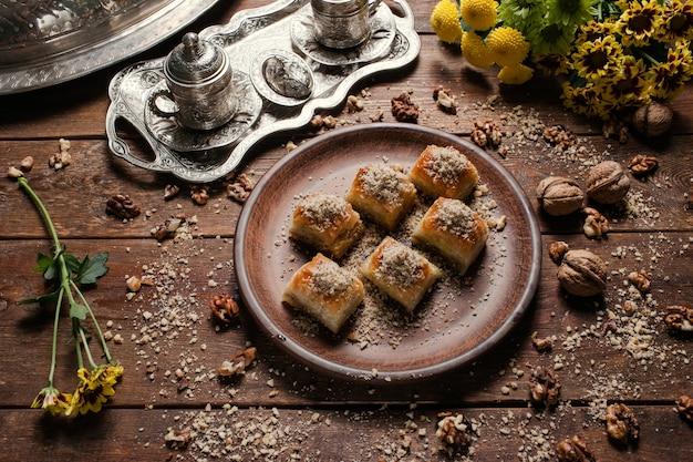 Baklava traditional oriental dessert. tea and turkish pastry breakfast concept