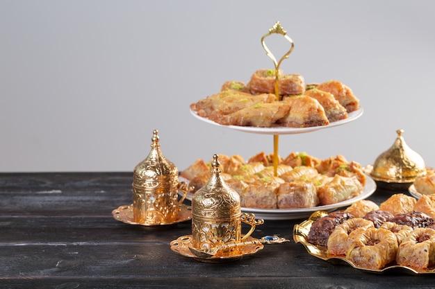 Baklava, turkish dessert made of thin pastry, nuts and honey
