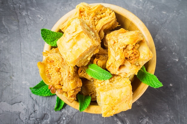 Baklava with honey and nuts