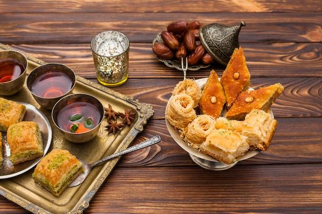 Baklava with tea cups on table