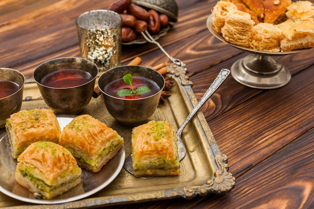 Baklava with tea cups on tray