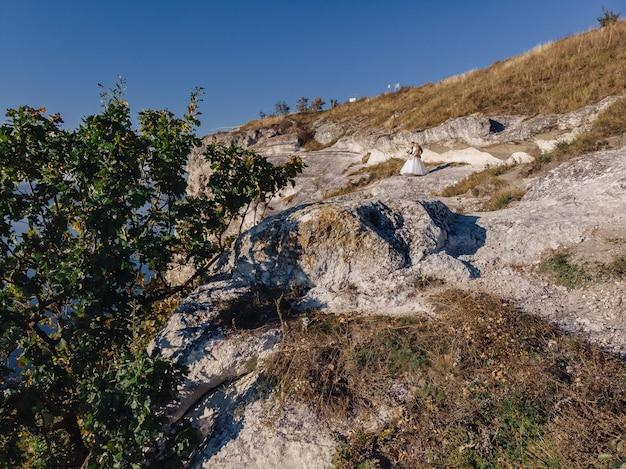 Bakota bay, ukraine, scenic aerial view to dniester, stones abov
