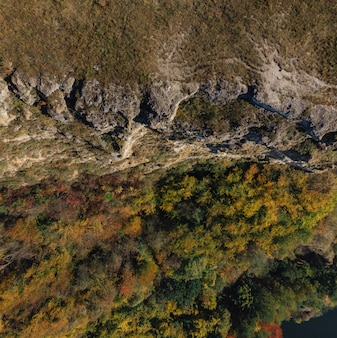 Bakota bay, ukraine, scenic aerial view to dniester, stones above the lake water, sunny day