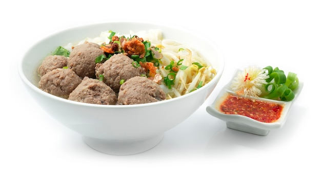 Bakso meatballs and noodles with soup served chili sauce indonesia food
