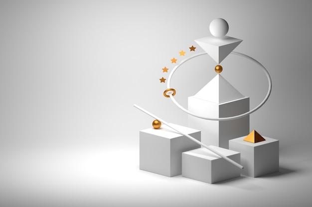 Композиция баланса с геометрическими низкополигональными фигурами и золотой звездой