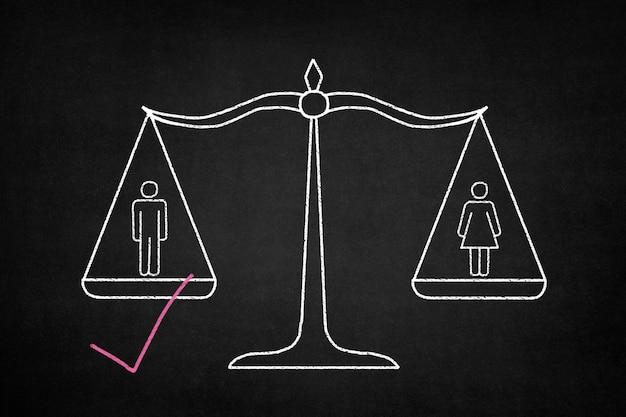 男と女と赤の &quot;v&quot;を持つ男を計量バランス