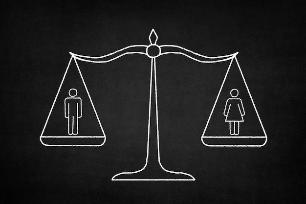 Balance weighing a man and a woman