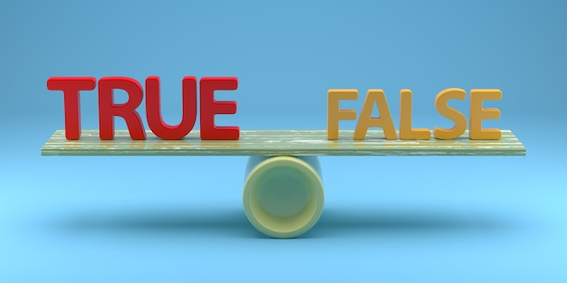 Balance with true or false consept. 3d rendering