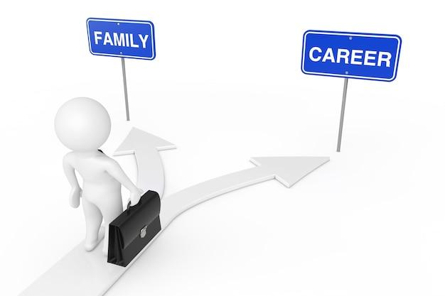 Сбалансируйте свою жизненную концепцию. характер человека бизнесмена на выборе дороги стрелки между карьерой или семьей на белой предпосылке. 3d рендеринг