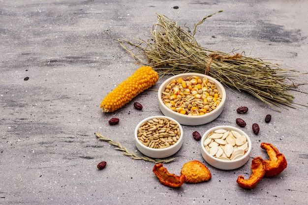 国内の齧歯類のためのバランスの取れた食事。穀物と種子、ドライハーブ、新鮮な果物の盛り合わせ