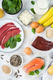 Balanced diet nutrition, healthy eating concept. food sources rich in vitamin b6, pyridoxine on a kitchen table. top view flat lay background