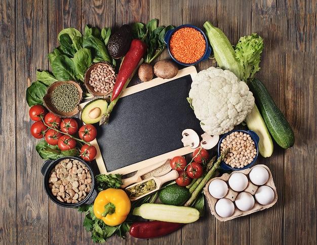Balanced diet organic healthy food clean eating flat lay.