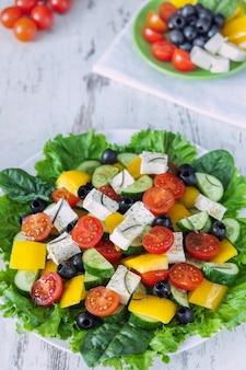 Balanced food concept, vegetable salad, greek salad as a light dinner