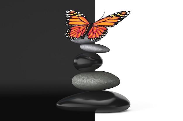白と黒の背景に蝶とバランスの取れた石
