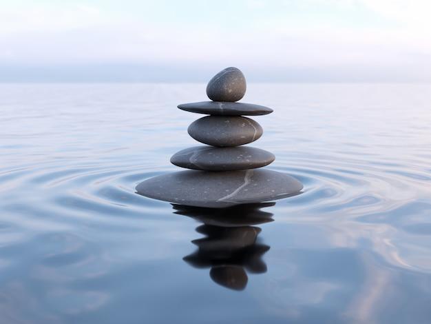 Сбалансированные камни дзен в воде