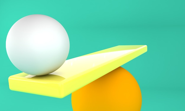 オレンジ色の背景のバランスボール。 3dイラスト