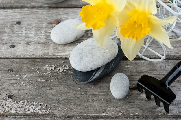 Balancing pebble stones and yellow flowers