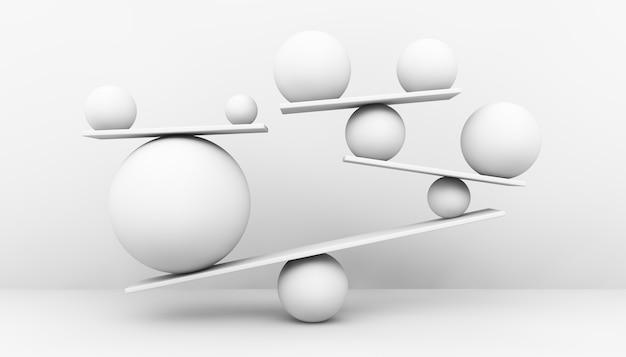 3d 렌더링 개념에서 흰색 공 균형