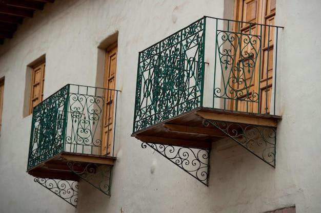 Balconies of a house, sacred valley, cusco region, peru